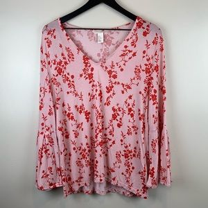 H&M Boho Pink Red Floral Bell Sleeve Top Medium